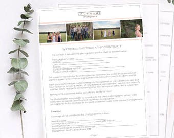 Wedding Photography Contract - Wedding Contract - Photography Template - Marketing Kit - Instant Download - Business Form - Welcome Packet