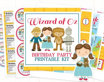 Wizard of Oz Party Printable Collection, Personalized Wizard of Oz Party Printables, Dorothy Party Printable, Full Wizard of Oz Party Set