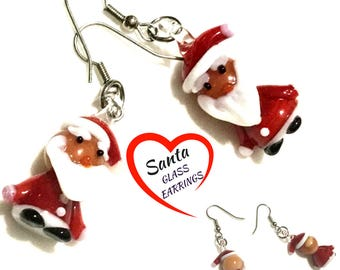 Silver Xmas Earrings, Santa Earrings, Glass Xmas Earrings, Glass Santa Earrings, Festive Xmas Drop Earrings, Xmas Gift, Free Local Shipping