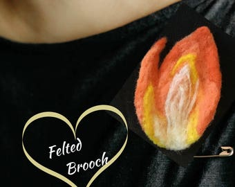 Orange Flame Brooch, Designer Brooch, Felted Jacket Pin, Versatile as a Pendant or Fridge Magnet, Needle Felted Jewellery ,Valentine Gift