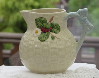 Shorter and Son, Basket Weave Jug, Small Pitcher, Strawberry Design Jug, Shorter and Son Jug