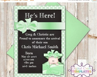 SALE Personalized Printable Invitations | Green | Baby Gift | Baby Shower | Birth Announcement |  #62a