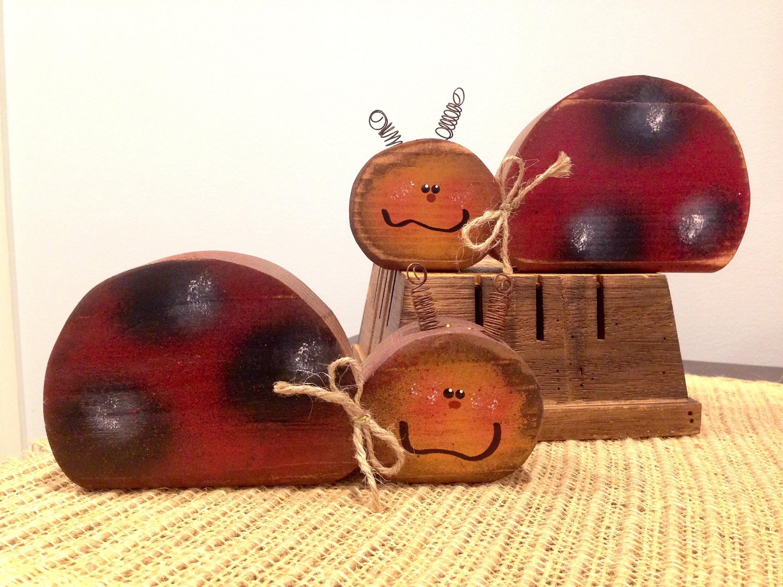 Ladybug ornaments - Primitive Wooden Ladybug Lovebug Spring Summer Wood Decor Country Wooden Decor Primitive