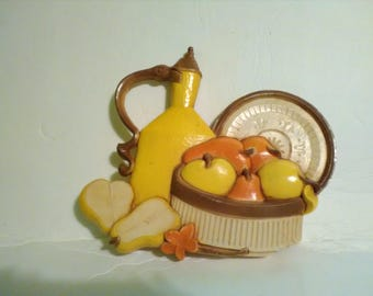 Vintage Homco Syroco Molded Fruit Bowl Plaque #7610-A 1981
