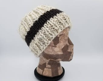 Hand Knit Headband, Ear Warmer, Winter Accessory, Gift For Women, Winter Headband, Head Warmer, Striped Headband, Cream/Brown Headband