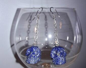 Lapis lazuli skull dangle earrings