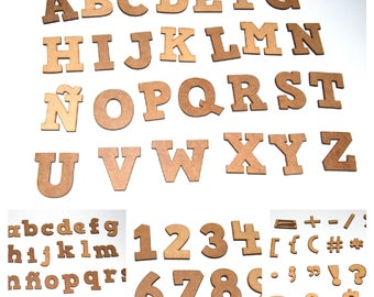 Crafts, letters and numbers of wood