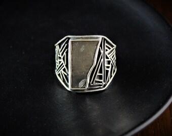 Sterling silver Meteorite Ring/ meteorite jewelry/men ring/gift for him/handmade ring/meteorite/sterling silver/gemstone/handmade ring