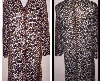 Vintage VANITY FAIR Short LEOPARD Print Nylon Robe Dressing Gown sz 34 / S M