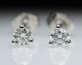 1/4 ct Diamond Earring Studs in 14k White Gold 1/4ct 0.25 ct
