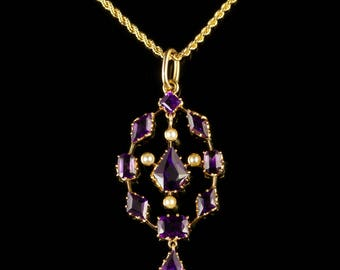 Antique Victorian Amethyst Pendant and Necklace 18ct Gold