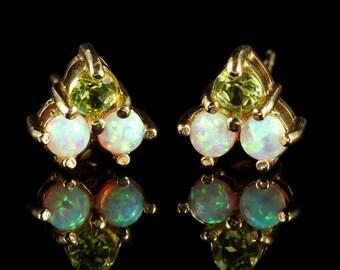 Peridot Opal Stud Earrings 9ct Gold