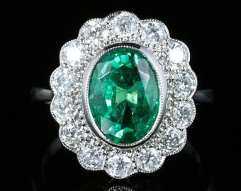 Emerald Diamond Cluster Ring All Platinum 3.50ct Emerald