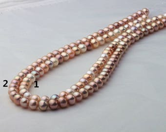 6.5-7.5mm Off Round/Short Potato Pearl Necklace Strand, AAA1 quality