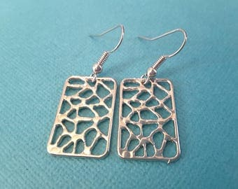 Silver Puzzle Rectangles . Earrings