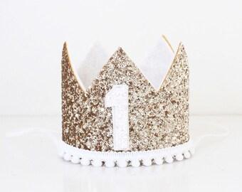 Birthday Crown with Number and Mini Pom Pom Trim