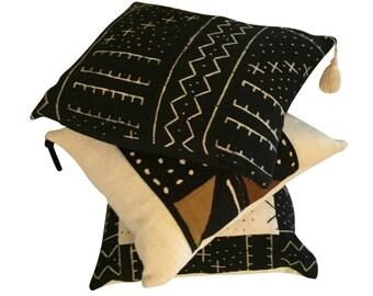 Black Lumbar Pillow, Authentic Black Mud Cloth, Black Throw Pillow Cover, Black Boho Pillow, Pillow with Tassels,18x18, 20x20, 22x22