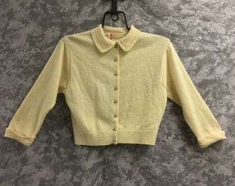 1950's Beige Sweater with Rhinestone Buttons