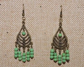 Antique bronze metal and glass beads earrings