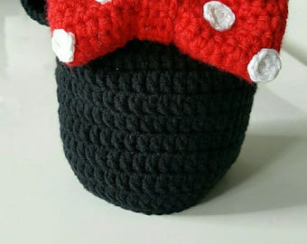 crochet baby minnie red and Black Hat