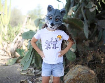 Howling Desert Wolf Baby/Toddler/Youth Tee in White