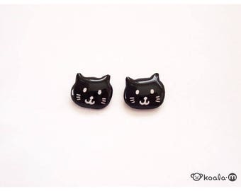 Cat Earrings, Black Cat Earrings, Cute Black Cat Studs, Black Earrings, Kitty Earrings