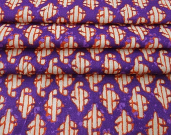 "Cotton Printed Fabric, Purple Fabric, Dress Material, Sewing Crafts Fabric, 45"" Inch Home Decor Fabric By The Yard ZBC8338A"