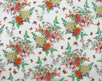 "Sewing Cotton Fabric, Floral Print, White Fabric, Dressmaking Fabric, Home Accessories, 45"" Inch Fabric By The Yard ZBC8546A"