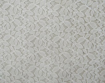 """Ethnic Net Lycra Fabric, Floral Design, White Fabric, Dress Material, Quilting Fabric, 43"""" Inch Fabric By The Yard ZBD221A"""