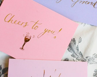 Greeting Cards in pastel colours with metallic foil (pack of 3)