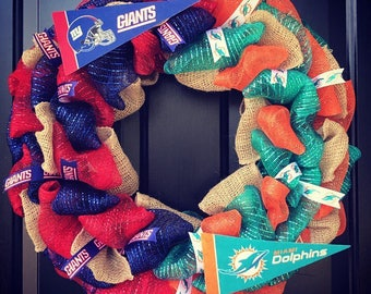 Custom Made NFL House divided wreath: New York Giants / Miami Dolphins