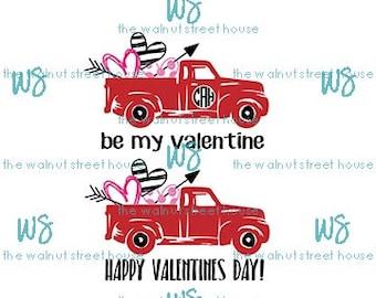 SVG - Valentine Svg, JPG included.  Digitally downloadable file only. Valentine pickup truck svg, red pickup svg, be my valentine truck