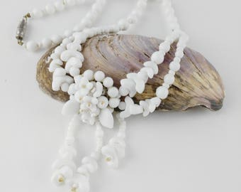 White Glass Bead Necklace