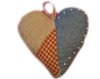 "Handmade AMERICANA HEART ORNAMENT ~ ""Stars / Stripes"" ~ Denim / Gingham / Linen ~ Red, White & Blue"