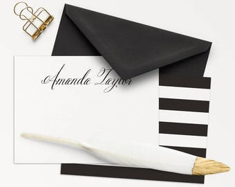 100 Personalized Note Cards / Personalized Stationery / Black And White Note Cards / Thank You Cards / Personal Note Cards