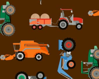Farm Vehicles and Tractors - Brown, Cotton Lycra Jersey Knit Fabric