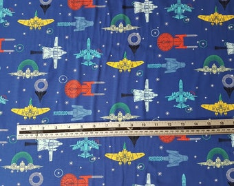 Spaceships - Blue, Cotton Lycra Jersey Knit Fabric