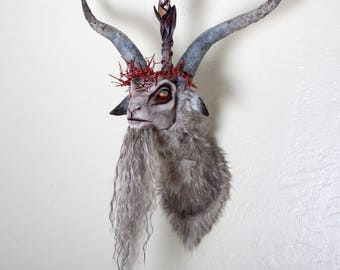 Large Ooak hand made faux taxidermy Baphomet Head mount