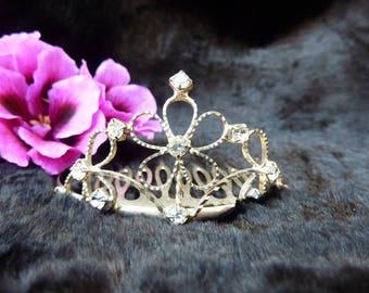 Vintage Tiara Comb Sterling Silver Tiara Comb Sterling Silver Crown Faux Diamond Rhinestone Tiara Hair Comb Wedding Tiara Princess Tiara