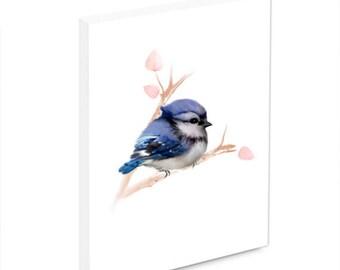 Blue Jay Wall Art, Bird Painting, Bird Art, Bird Wall Decor, Wall Plaque, Mounted Print, Blue Jay Print, Gift for Bird Lovers, Bird Decor