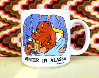 Winter In Alaska Bear Coffee Mug 1988 - Life a B and then You Hibernate!