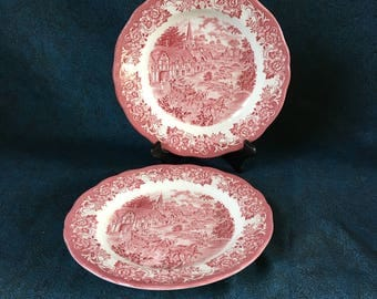 Vintage J & G Meakin Stratford Stage Pink Dinner Plates, Set of 2,  Royal Staffordshire
