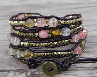 leather wrap bracelet 5 Wraps bracelet Gemstone Bracelet watermelon crystal beads bracelet Boho Bracelet Gold Bass Beads Bracelet SL-0538
