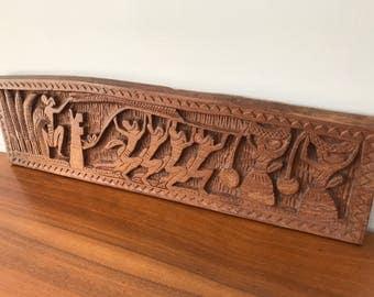 Vintage Palauan Story Board Signed by Master Artist Osiik  Story of Tebang