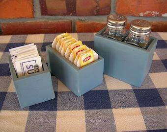 Table Organizer Set - Salt and Pepper Shaker Holder. Tea Bag Caddy, Sugar Packet Holder - Rustic Blue - Kitchen, Dining, Restaurant, Bar