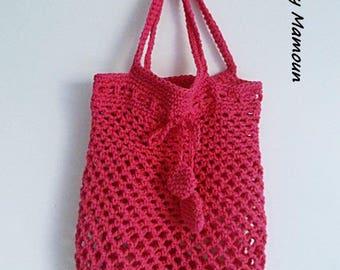 Mesh market bag crocheted Fuchsia cotton bag