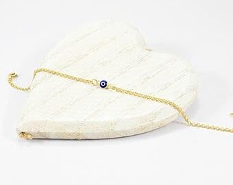 Thin Chain Bracelet, Tiny Evil Eye Bracelet, Evil Eye Jewelry, Greek Evil Eye Jewelry, Greek Evil Eye Bracelet, Gold Evil Eye Bracelet