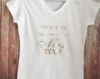 Personalised The Future Mrs t-shirt, Bride gift, Bride to be, Hen top, Wedding gift day White Black gold