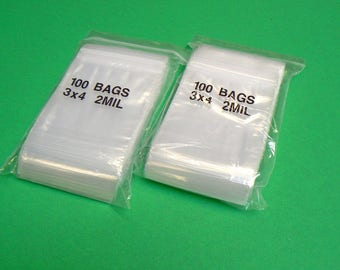 """200 Zip Lock Reclosable Bags Clear Zip Seal 2mil Poly Bag 3"""" X 4"""" 200 Pieces (8E)"""