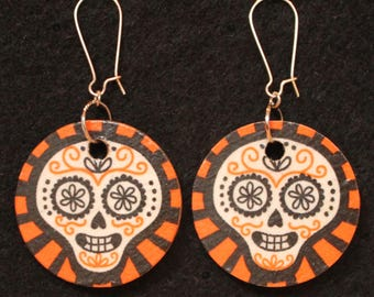 Reversible Orange/Deep Blue Handmade Day of the Dead Skull Earrings